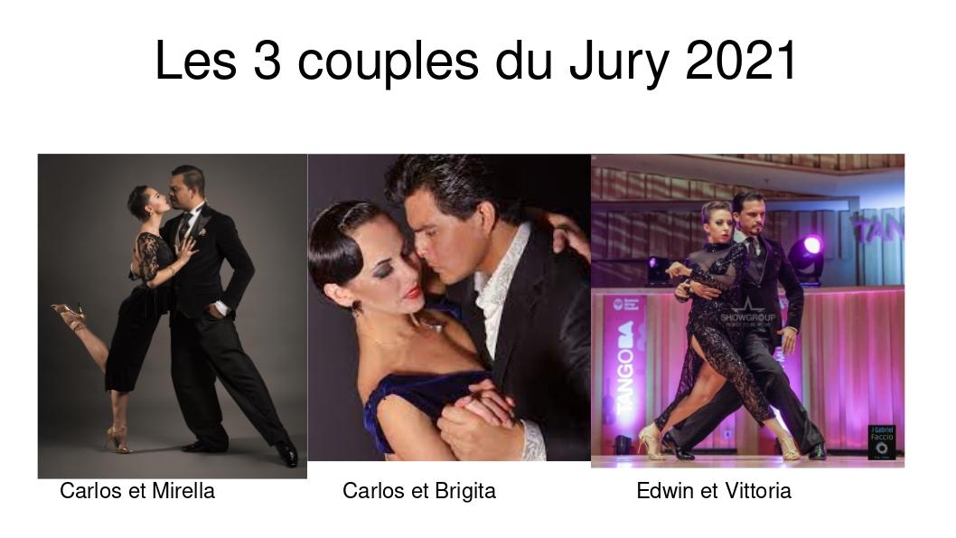 Le jury est composé de 3 couples tous finalistes du Mundial de Buenos Aires